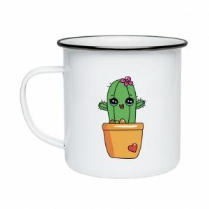 Kubek emaliowany Kaktus