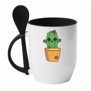 Kubek z ceramiczną łyżeczką Kaktus