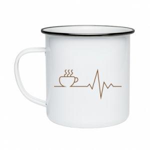 Kubek emaliowane Kardiogram kawy