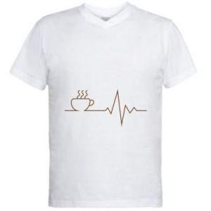 Męska koszulka V-neck Kardiogram kawy