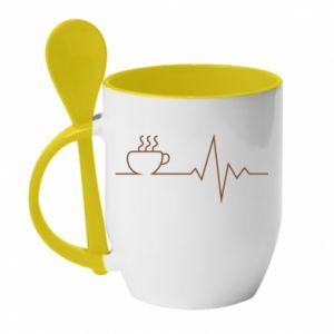 Kubek z ceramiczną łyżeczką Kardiogram kawy