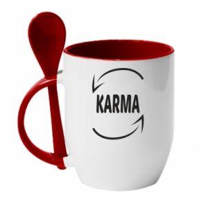 Kubek z ceramiczną łyżeczką Karma