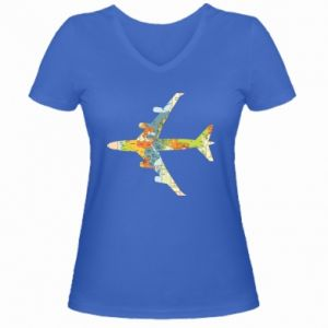 Women's V-neck t-shirt Airplane card