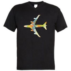 Men's V-neck t-shirt Airplane card