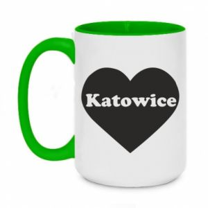 Two-toned mug 450ml Katowice in heart