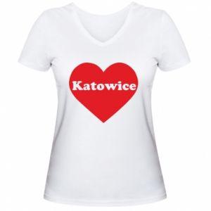 Women's V-neck t-shirt Katowice in heart