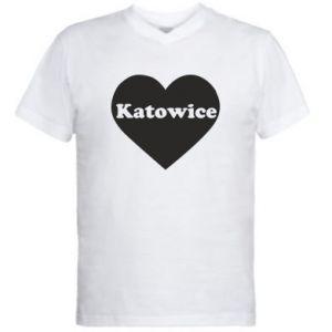 Męska koszulka V-neck Katowice w sercu