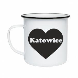 Enameled mug Katowice in heart