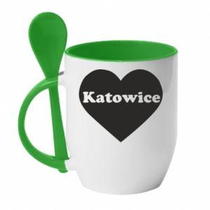 Mug with ceramic spoon Katowice in heart