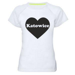 Women's sports t-shirt Katowice in heart