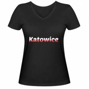 Damska koszulka V-neck Katowice - PrintSalon
