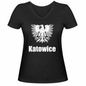 Damska koszulka V-neck Katowice