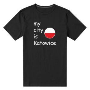 Męska premium koszulka My city is Katowice