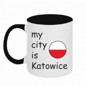 Two-toned mug My city is Katowice