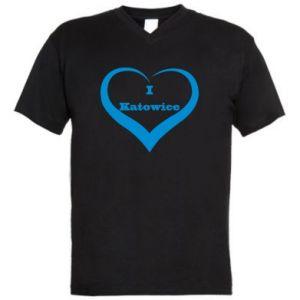 Men's V-neck t-shirt I love Katowice