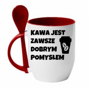 Kubek z ceramiczną łyżeczką Kawa jest zawsze dobrym pomysłem