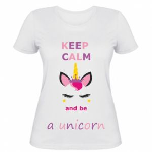 Damska koszulka Keep calm ant be a unicorn - PrintSalon