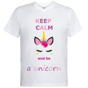 Męska koszulka V-neck Keep calm ant be a unicorn - PrintSalon