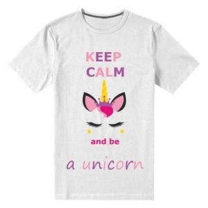Męska premium koszulka Keep calm ant be a unicorn - Printsalon