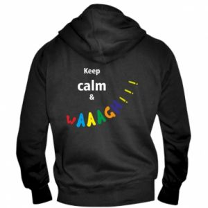 Męska bluza z kapturem na zamek Keep calm & waaagh!!!