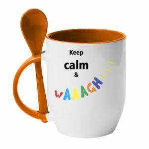 Kubek z ceramiczną łyżeczką Keep calm & waaagh!!!