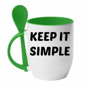 Kubek z ceramiczną łyżeczką Keep it simple