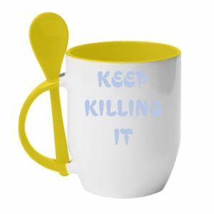 Kubek z ceramiczną łyżeczką Keep killing it