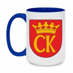 Two-toned mug 450ml Kielce coat of arms