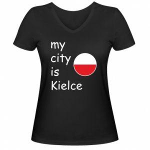 Damska koszulka V-neck My city is Kielce