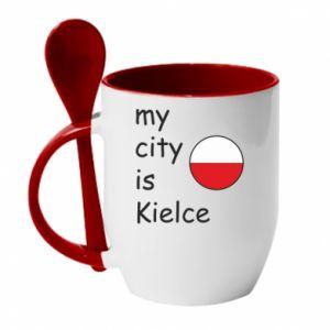 Kubek z ceramiczną łyżeczką My city is Kielce