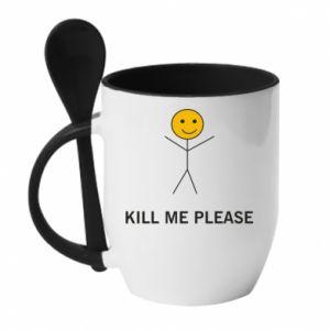 Kubek z ceramiczną łyżeczką Kill me please