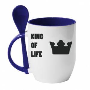 Kubek z ceramiczną łyżeczką King of life