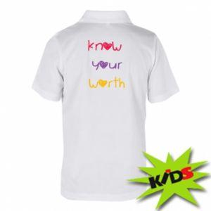 Dziecięca koszulka polo Know your worth