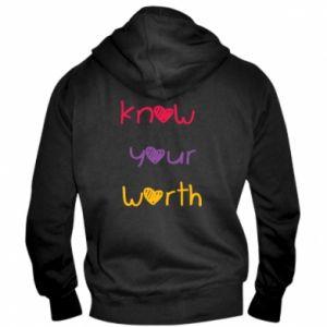 Męska bluza z kapturem na zamek Know your worth