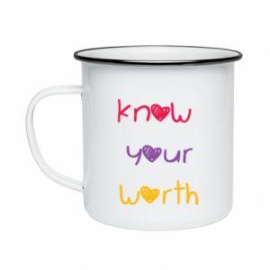 Kubek emaliowane Know your worth