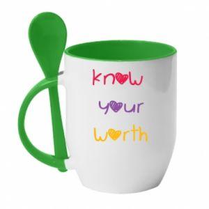 Kubek z ceramiczną łyżeczką Know your worth