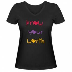 Damska koszulka V-neck Know your worth