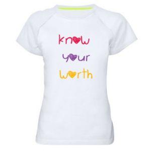 Damska koszulka sportowa Know your worth