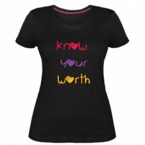 Damska premium koszulka Know your worth