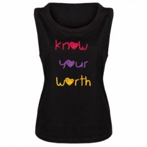 Damska koszulka bez rękawów Know your worth