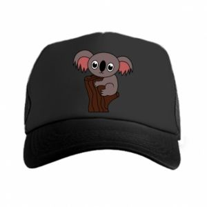 Trucker hat Koala on a tree with big eyes