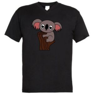 Męska koszulka V-neck Koala on a tree with big eyes - PrintSalon