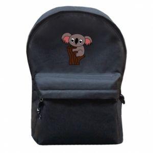 Plecak z przednią kieszenią Koala on a tree with big eyes - PrintSalon