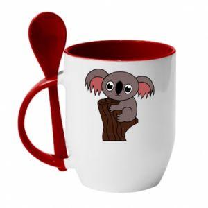 Mug with ceramic spoon Koala on a tree with big eyes