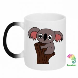 Chameleon mugs Koala on a tree with big eyes