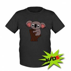 Kids T-shirt Koala on a tree with big eyes