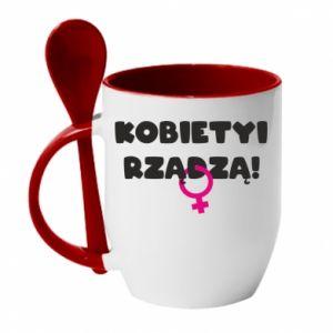 Kubek z ceramiczną łyżeczką Kobiety rządzą