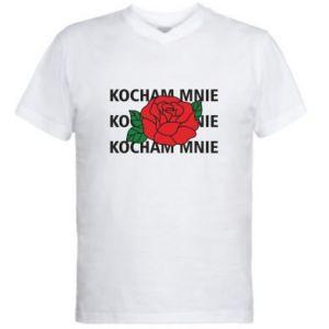 Męska koszulka V-neck Kochaj mnie