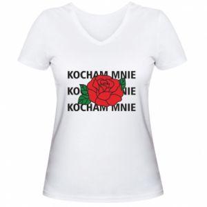 Damska koszulka V-neck Kochaj mnie