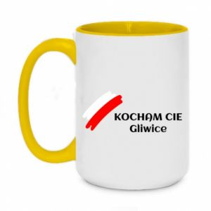 Two-toned mug 450ml I love you Gliwice